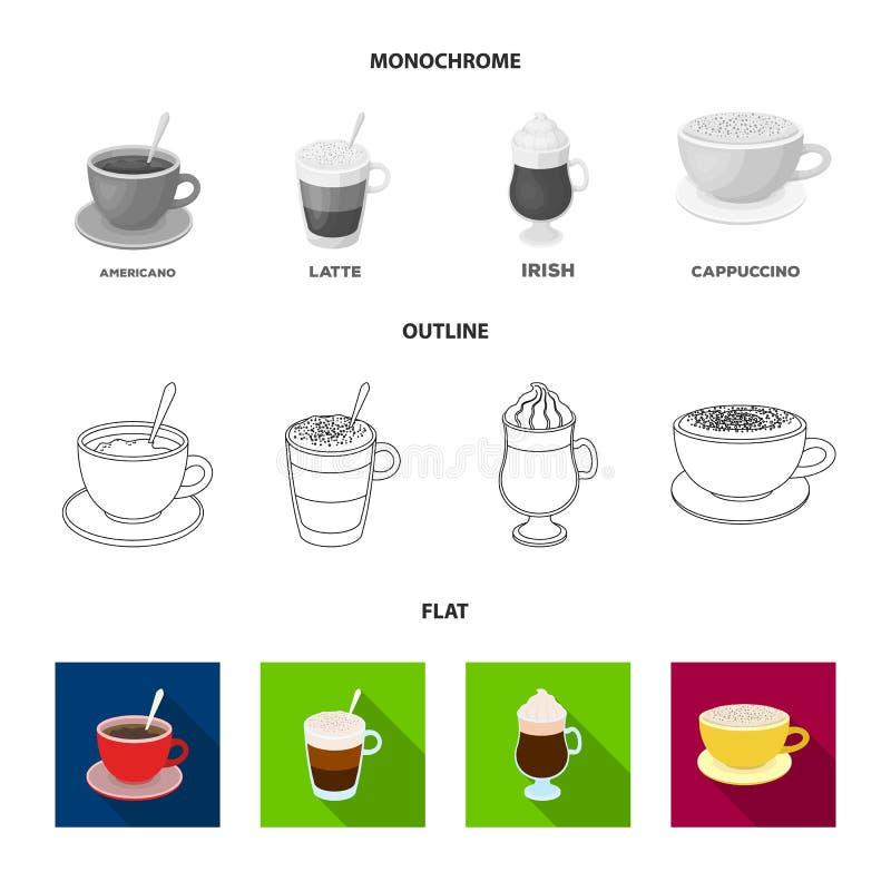 Αμερικανικά, πρόσφατος, ιρλανδικά, cappuccino Διαφορετικοί τύποι καθορισμένων εικονιδίων συλλογής καφέ στο επίπεδο, περίληψη, μον διανυσματική απεικόνιση