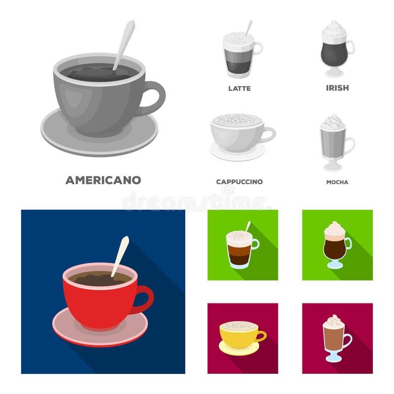 Αμερικανικά, πρόσφατος, ιρλανδικά, cappuccino Διαφορετικοί τύποι καθορισμένων εικονιδίων συλλογής καφέ στο μονοχρωματικό, επίπεδο ελεύθερη απεικόνιση δικαιώματος