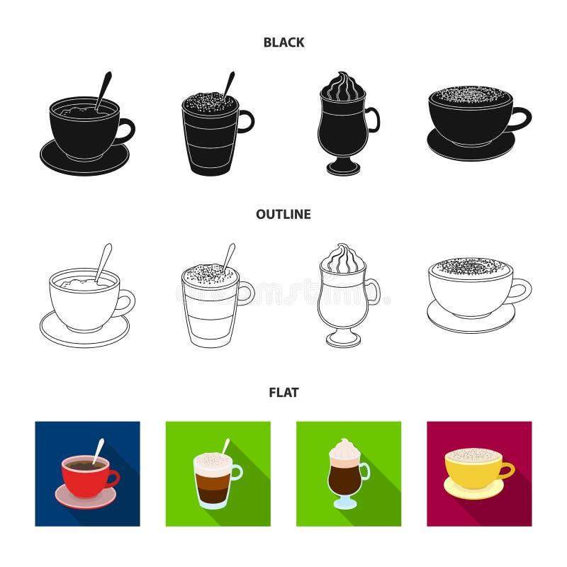 Αμερικανικά, πρόσφατος, ιρλανδικά, cappuccino Διαφορετικοί τύποι καθορισμένων εικονιδίων συλλογής καφέ στο Μαύρο, επίπεδοι, περίλ ελεύθερη απεικόνιση δικαιώματος