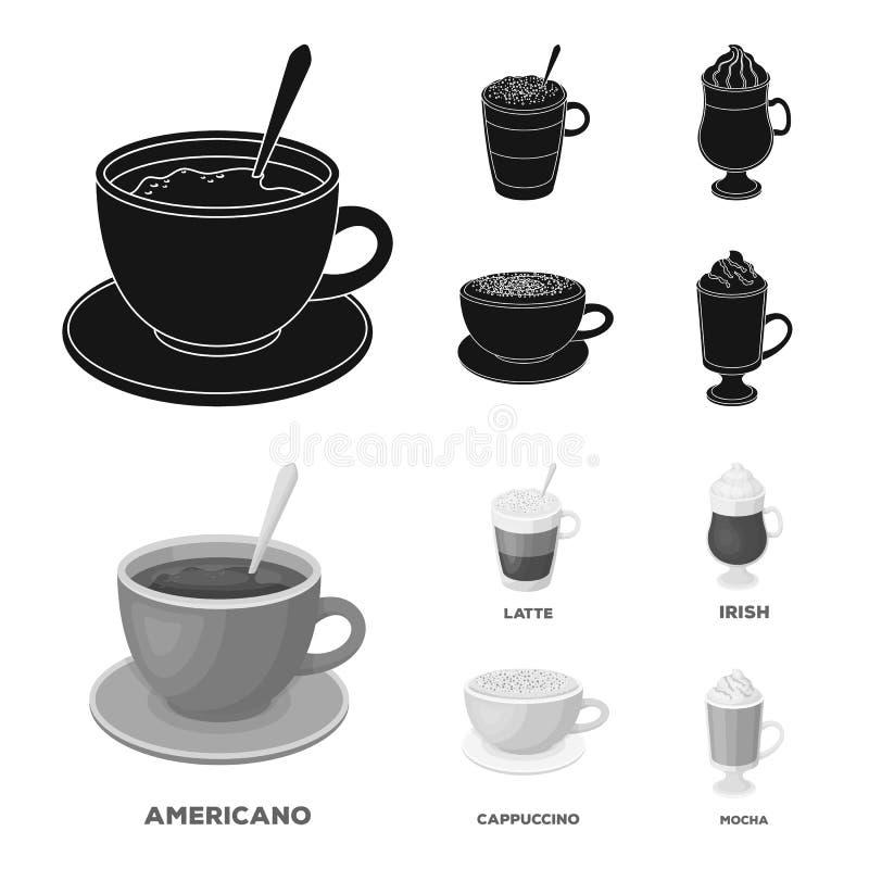 Αμερικανικά, πρόσφατος, ιρλανδικά, cappuccino Οι διαφορετικοί τύποι καθορισμένων εικονιδίων συλλογής καφέ στο Μαύρο, monochrom ορ ελεύθερη απεικόνιση δικαιώματος