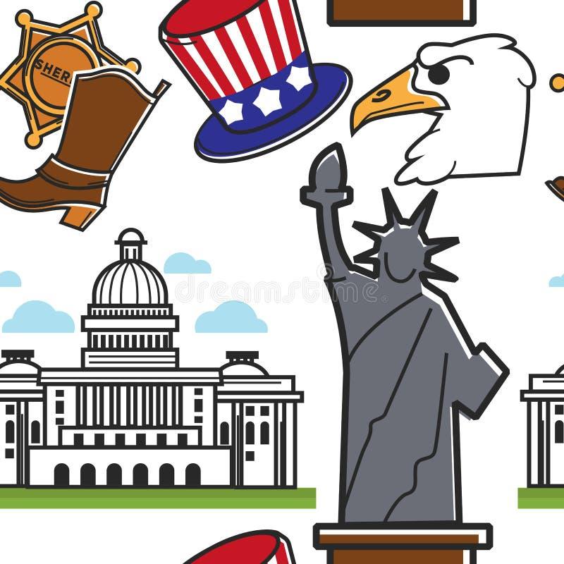 Αμερικανικά σύμβολα και ταξίδι και τουρισμός σχεδίων αρχιτεκτονικής άνευ ραφής ελεύθερη απεικόνιση δικαιώματος