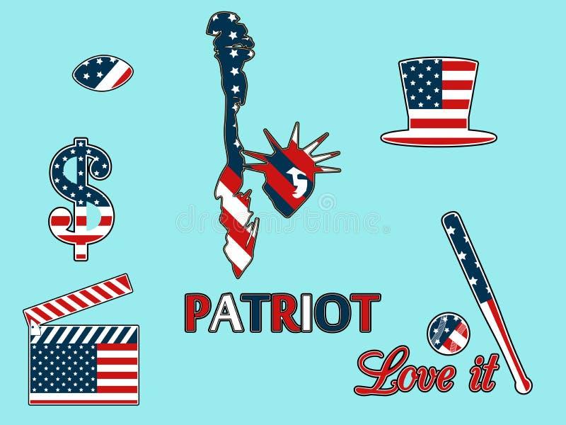 Αμερικανικά σύμβολα στα πατριωτικά χρώματα της απομόνωσης σε ένα μπλε backgr ελεύθερη απεικόνιση δικαιώματος