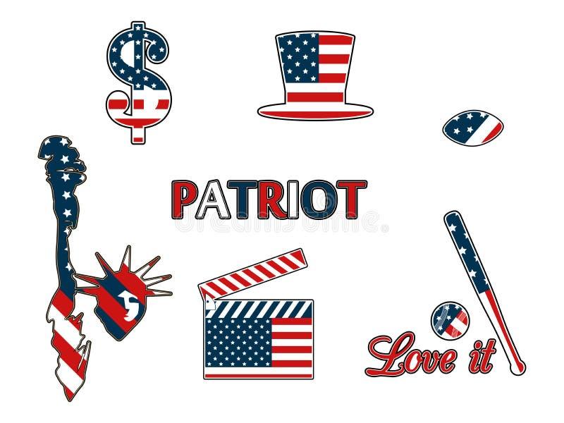 Αμερικανικά σύμβολα στα πατριωτικά χρώματα της απομόνωσης σε ένα άσπρο υπόβαθρο Πατριωτικά διακριτικά μπαλωμάτων απεικόνιση αποθεμάτων