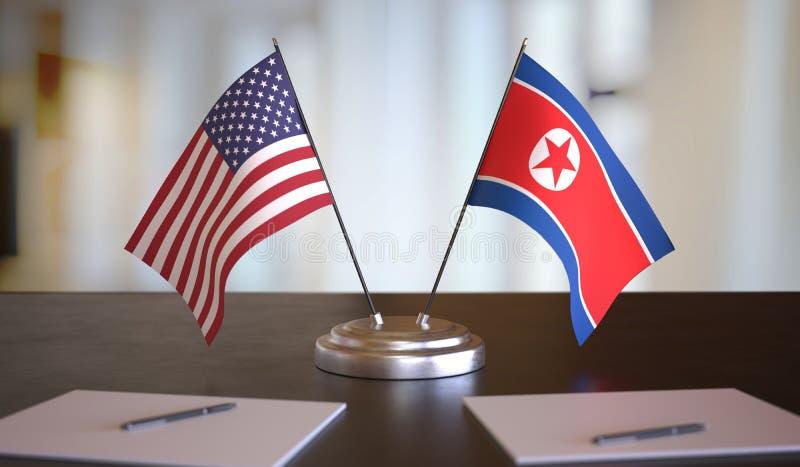 Αμερικανικές και βορειοκορεατικές σημαίες επί τάπητος Διαπραγματεύσεις μεταξύ Βόρειας Κορέας και Ηνωμένων Πολιτειών Εικόνα απόδοσ στοκ εικόνες με δικαίωμα ελεύθερης χρήσης
