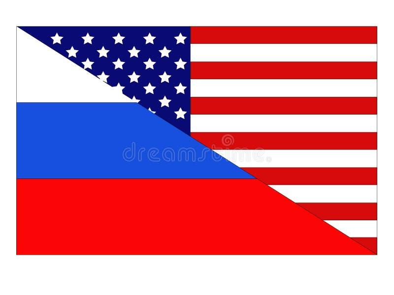 Αμερικανικές και ρωσικές σημαίες διανυσματική απεικόνιση