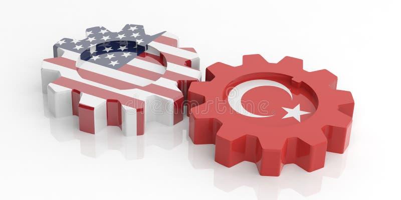 Αμερικανικές και τουρκικές σημαίες στα εργαλεία, που απομονώνονται στο άσπρο υπόβαθρο τρισδιάστατη απεικόνιση ελεύθερη απεικόνιση δικαιώματος