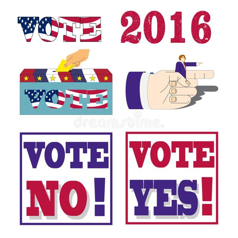 Αμερικανικές προεδρικές εκλογές 2016 διακριτικά και ετικέτες ψηφοφορίας απεικόνιση αποθεμάτων