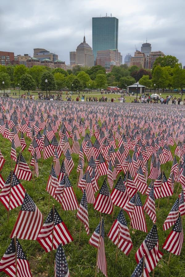 Αμερικανικές σημαίες στη Βοστώνη κοινή στοκ φωτογραφία