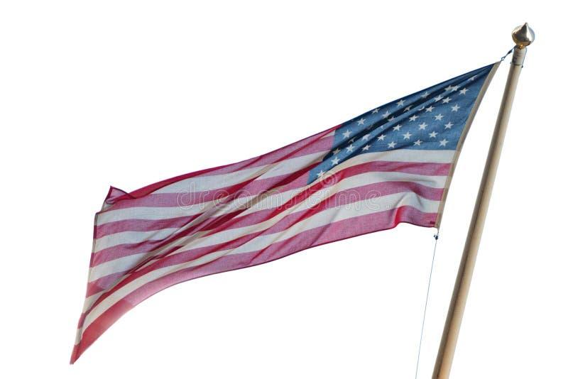 Αμερικανική αμερικανική σημαία που απομονώνεται στο άσπρο υπόβαθρο στοκ εικόνες