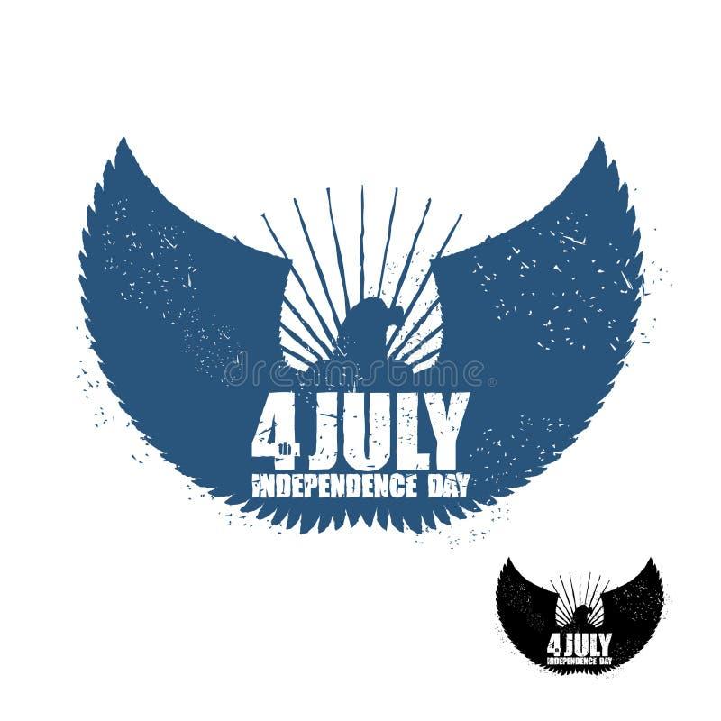 αμερικανική ανεξαρτησία &eta Αετός στο ύφος grunge ΑΜΕΡΙΚΑΝΙΚΟ σύμβολο NA απεικόνιση αποθεμάτων