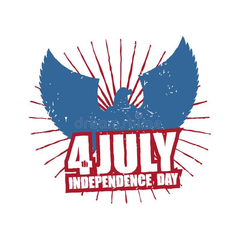 αμερικανική ανεξαρτησία &eta Αετός στο ύφος grunge ΑΜΕΡΙΚΑΝΙΚΟ σύμβολο NA διανυσματική απεικόνιση