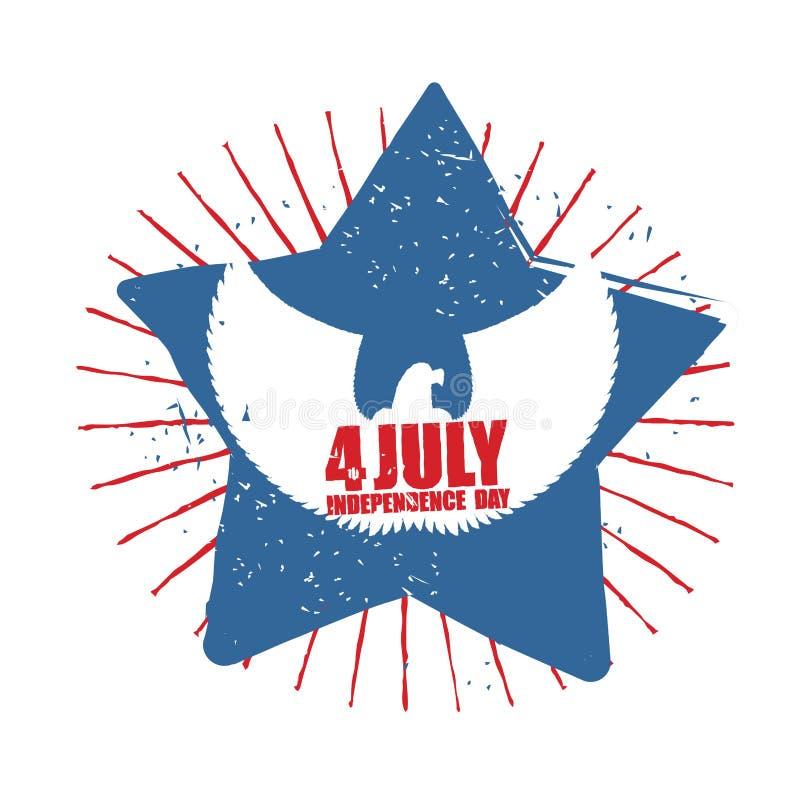 αμερικανική ανεξαρτησία &eta Σύμβολο του πνεύματος αστεριών και αετών χωρών διανυσματική απεικόνιση