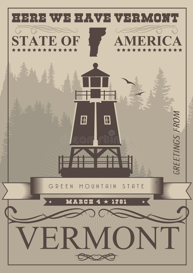 Αμερικανική αφίσα του Βερμόντ Απεικόνιση ΑΜΕΡΙΚΑΝΙΚΟΥ ταξιδιού Κάρτα των Ηνωμένων Πολιτειών της Αμερικής Μονο ύφος χρώματος απεικόνιση αποθεμάτων