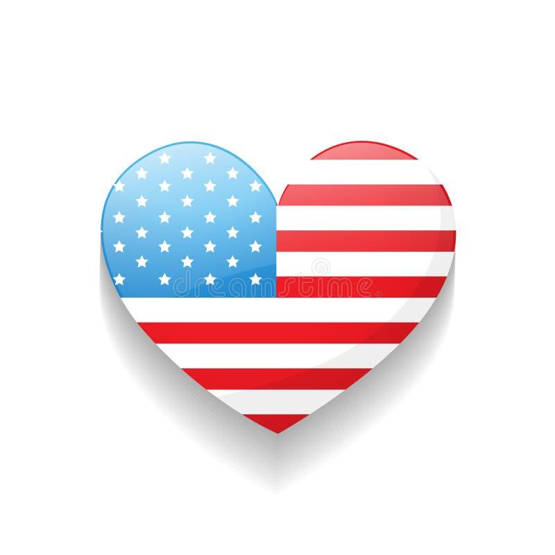 Αμερικανική καρδιά ημέρας της ανεξαρτησίας ελεύθερη απεικόνιση δικαιώματος