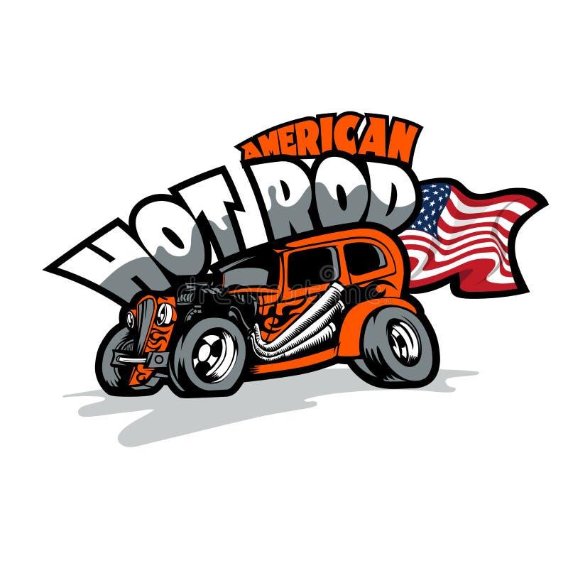 Αμερικανική καυτή ράβδος, επί παραγγελία αυτοκίνητα Πρότυπο τυπωμένων υλών μπλουζών ελεύθερη απεικόνιση δικαιώματος