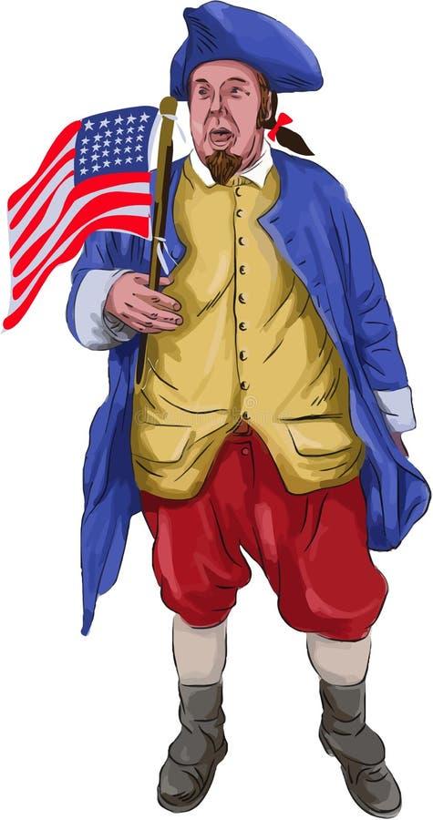 Αμερικανική να φωνάξει πατριωτών σημαία Watercolor εκμετάλλευσης διανυσματική απεικόνιση