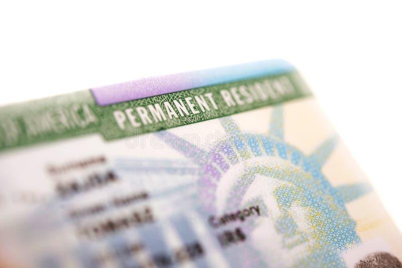 Αμερικανική πράσινη κάρτα στοκ φωτογραφία