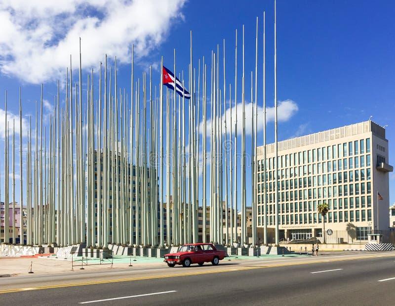 Αμερικανική πρεσβεία στην Αβάνα Κούβα στοκ εικόνες