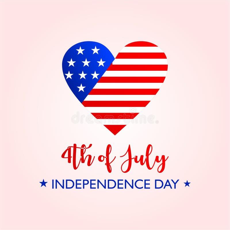 Αμερικανική σημαία αγάπης με το χαιρετισμό της ημέρας της ανεξαρτησίας ελεύθερη απεικόνιση δικαιώματος
