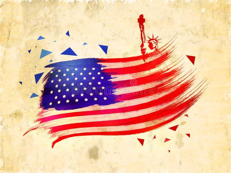 Αμερικανική σημαία για 4ο του εορτασμού Ιουλίου διανυσματική απεικόνιση
