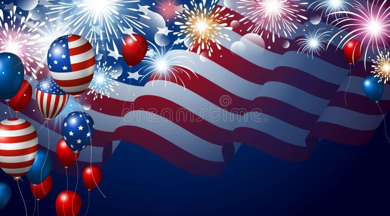 Αμερικανική σημαία και μπαλόνια με το έμβλημα πυροτεχνημάτων για τις ΗΠΑ 4ες ΗΠΑ της ημέρας της ανεξαρτησίας Ιουλίου απεικόνιση αποθεμάτων