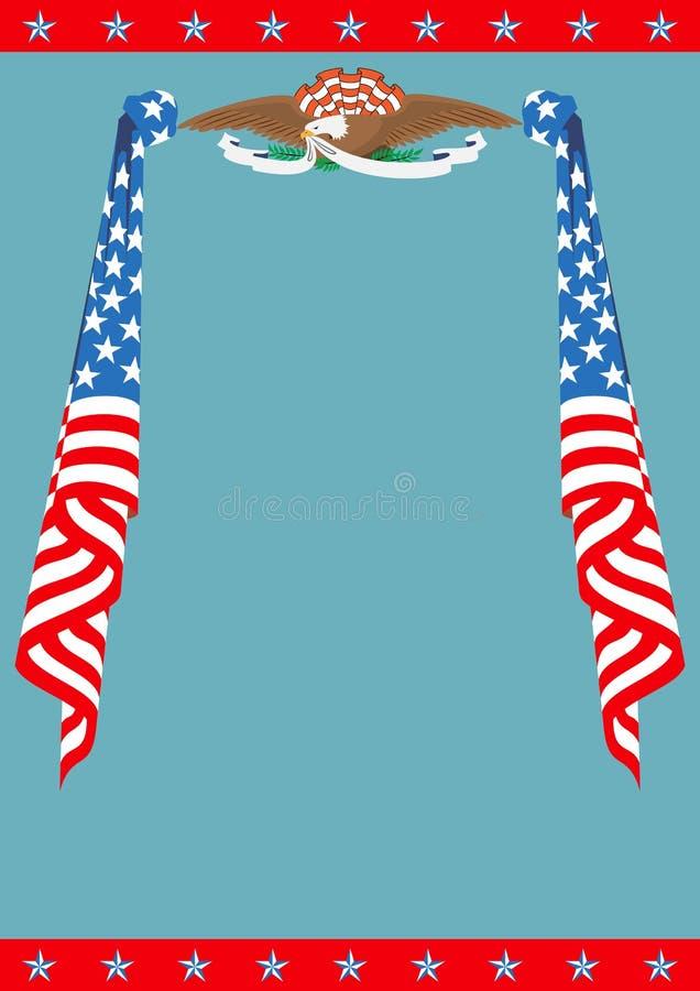 Αμερικανική σημαία και πατριωτικό πρότυπο συνόρων αετών διανυσματική απεικόνιση