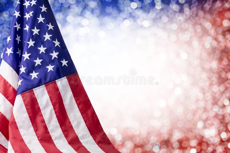 Αμερικανική σημαία και bokeh υπόβαθρο στοκ εικόνες με δικαίωμα ελεύθερης χρήσης