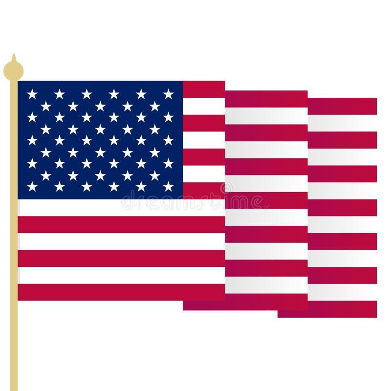 Αμερικανική σημαία, κυματίζοντας ΑΜΕΡΙΚΑΝΙΚΗ σημαία με τις αιχμηρές γωνίες Απλή απομονωμένη διανυσματική απεικόνιση Εθνικό σύμβολ ελεύθερη απεικόνιση δικαιώματος