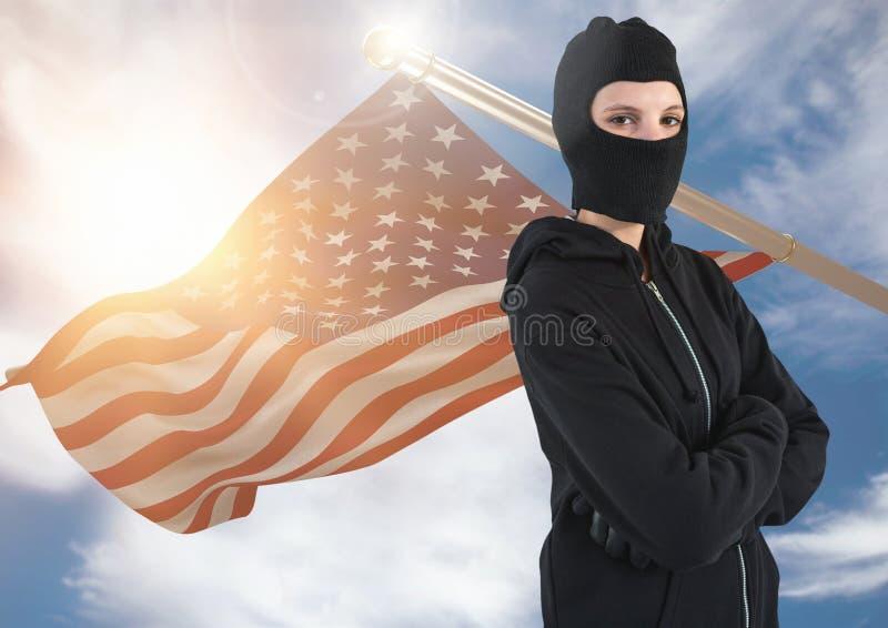 Αμερικανική σημαία με τη γυναίκα balaclava διανυσματική απεικόνιση