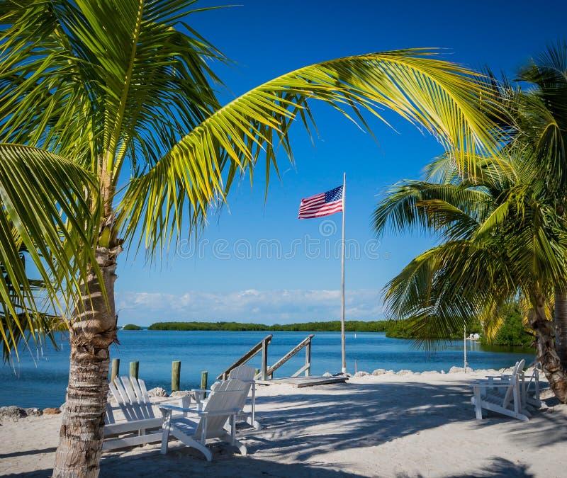 Αμερικανική σημαία που πλαισιώνεται από τους όμορφους φοίνικες στη Key West, ΛΦ στοκ φωτογραφία με δικαίωμα ελεύθερης χρήσης