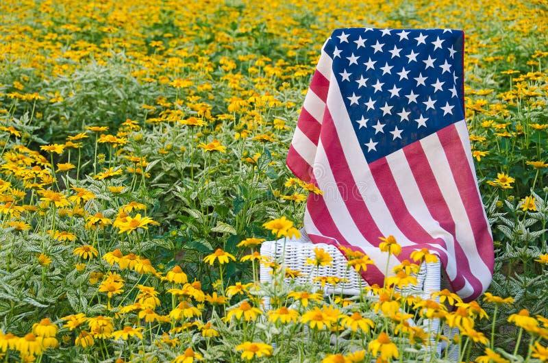 Αμερικανική σημαία στην καρέκλα στις κίτρινες μαργαρίτες στοκ φωτογραφία