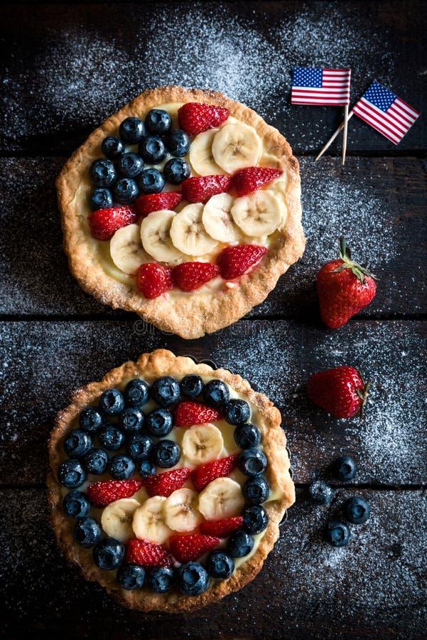 Αμερικανική σημαία στην πίτα στοκ εικόνες