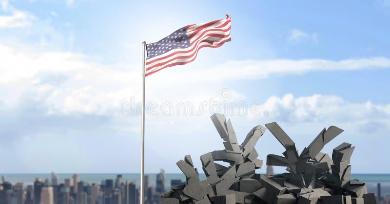Αμερικανική σημαία στη εικονική παράσταση πόλης ελεύθερη απεικόνιση δικαιώματος
