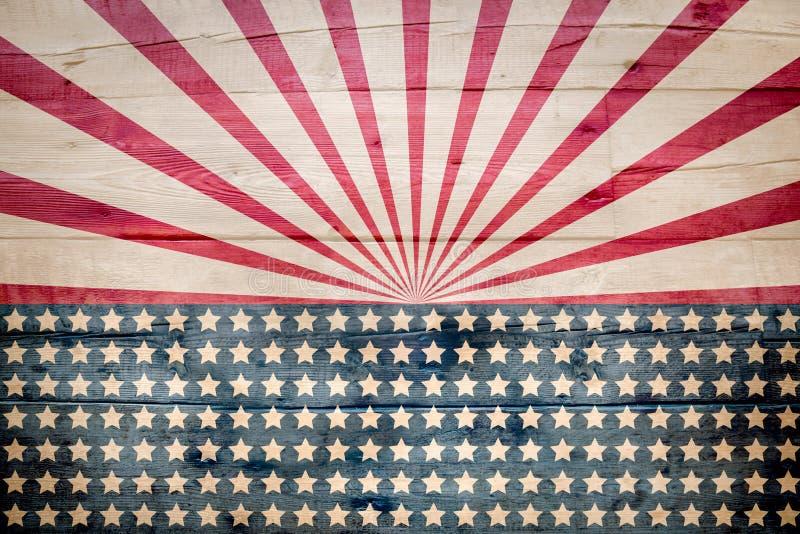 Αμερικανική σημαία στον ξύλινο πίνακα διανυσματική απεικόνιση