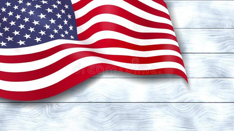 Αμερικανική σημαία στο άσπρο ξύλινο υπόβαθρο ΑΜΕΡΙΚΑΝΙΚΟ αστέρι-έναστρο έμβλημα Ημέρα μνήμης 4ος του Ιουλίου Ημέρα της ανεξαρτησί διανυσματική απεικόνιση