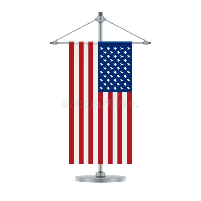 Αμερικανική σημαία στο διαγώνιο μεταλλικό πόλο, διανυσματική απεικόνιση απεικόνιση αποθεμάτων