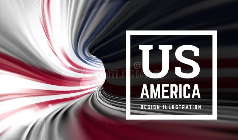 Αμερικανική σημαία υπό μορφή σπειροειδούς σωλήνα υπό μορφή χρωμάτων αμερικανικών σημαιών Εσωτερική άποψη r ελεύθερη απεικόνιση δικαιώματος