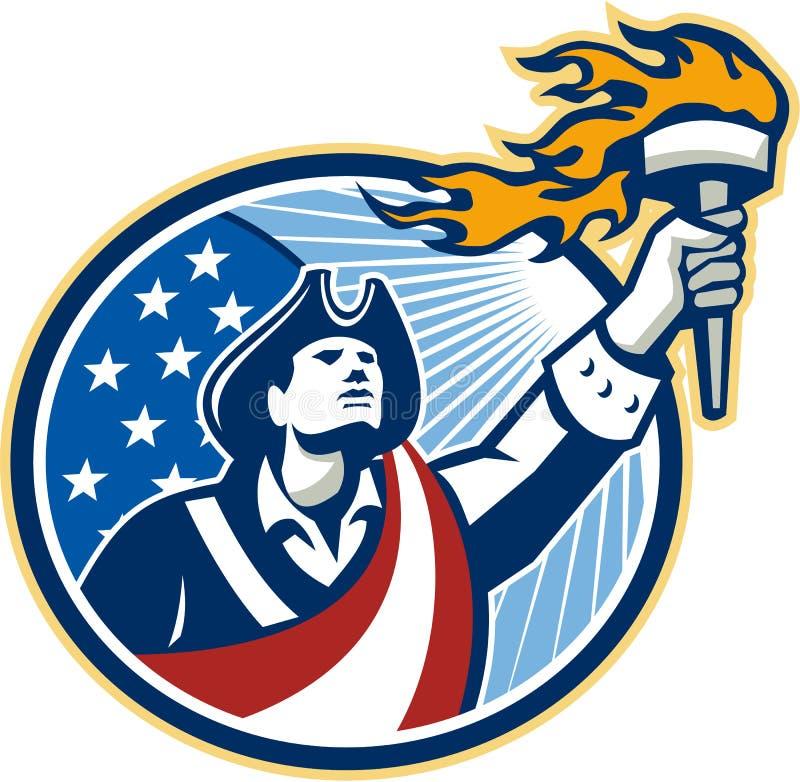 Αμερικανική σημαία λωρίδων αστεριών φανών εκμετάλλευσης πατριωτών απεικόνιση αποθεμάτων