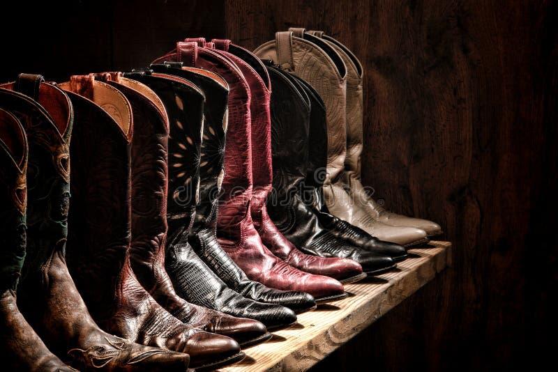 Αμερικανική συλλογή ραφιών μποτών Cowgirl δυτικού ροντέο στοκ εικόνες με δικαίωμα ελεύθερης χρήσης