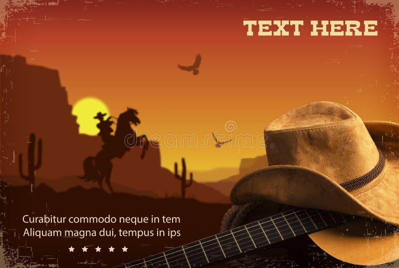 Αμερικανική country μουσική Δυτικό υπόβαθρο με την κιθάρα και τον κάουμποϋ απεικόνιση αποθεμάτων