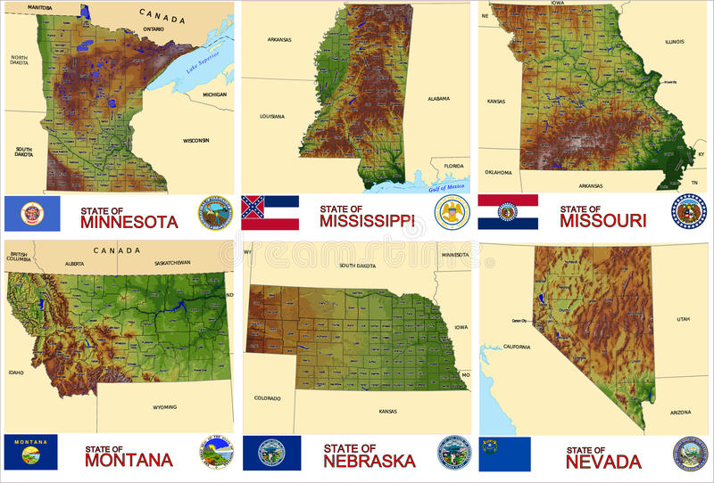 ΑΜΕΡΙΚΑΝΙΚΑ κράτη νομών χαρτών ελεύθερη απεικόνιση δικαιώματος
