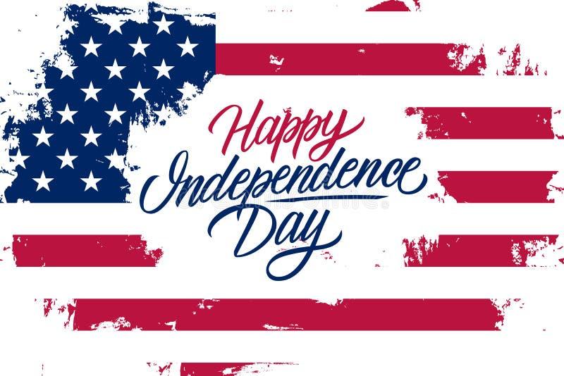ΑΜΕΡΙΚΑΝΙΚΗ ευτυχής ημέρα της ανεξαρτησίας γιορτάζει το έμβλημα με το υπόβαθρο κτυπήματος βουρτσών Ηνωμένων εθνικών σημαιών και τ διανυσματική απεικόνιση