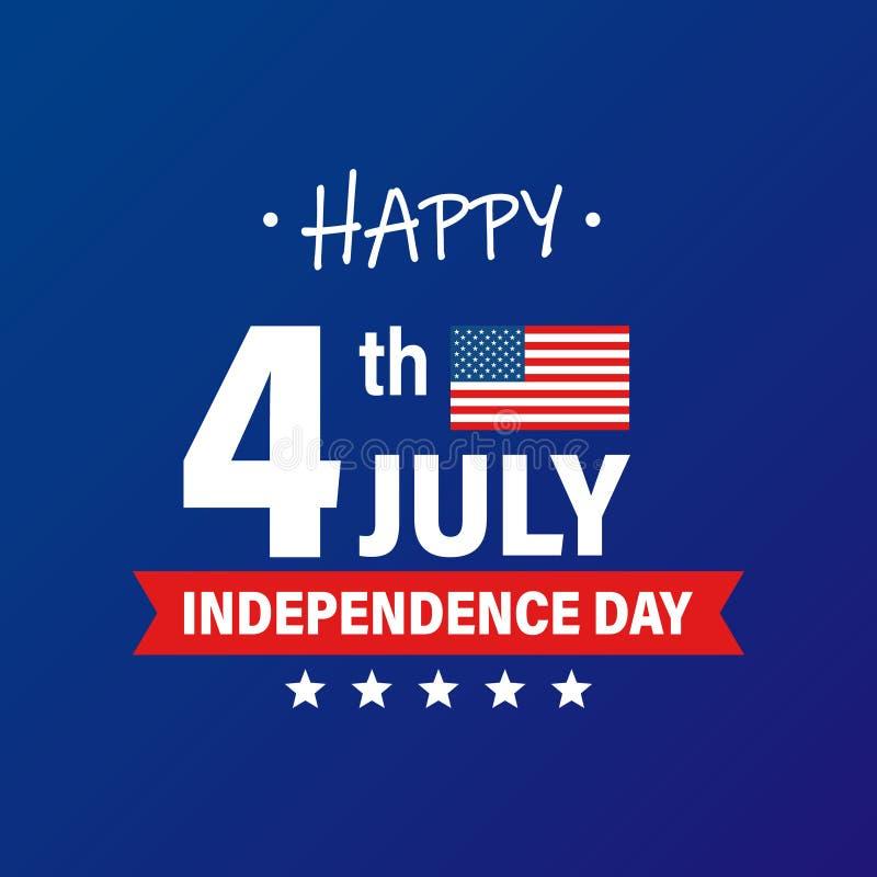 ΑΜΕΡΙΚΑΝΙΚΗ ημέρα της ανεξαρτησίας 4η των διακοπών Ιουλίου Σημαία των Ηνωμένων Πολιτειών της Αμερικής Ευτυχές έμβλημα ημέρας της  διανυσματική απεικόνιση