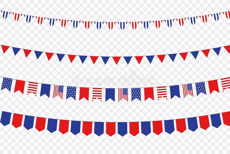 ΑΜΕΡΙΚΑΝΙΚΗ ημέρα της ανεξαρτησίας 4η των διακοπών Ιουλίου Σημαία των Ηνωμένων Πολιτειών της Αμερικής Ευτυχές έμβλημα ημέρας της  απεικόνιση αποθεμάτων