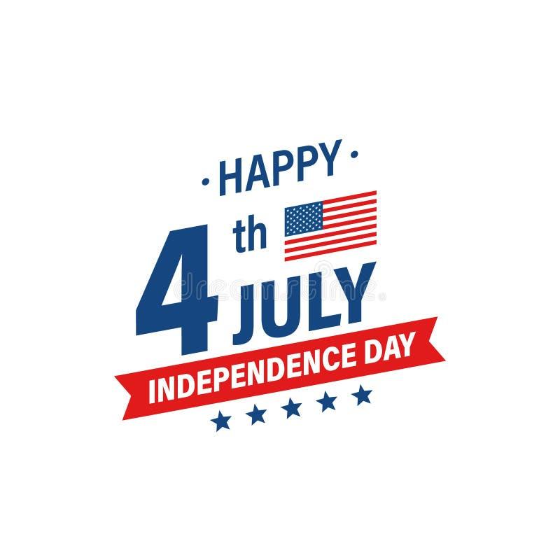 ΑΜΕΡΙΚΑΝΙΚΗ ημέρα της ανεξαρτησίας 4η των διακοπών Ιουλίου Σημαία των Ηνωμένων Πολιτειών της Αμερικής Ευτυχές έμβλημα ημέρας της  ελεύθερη απεικόνιση δικαιώματος