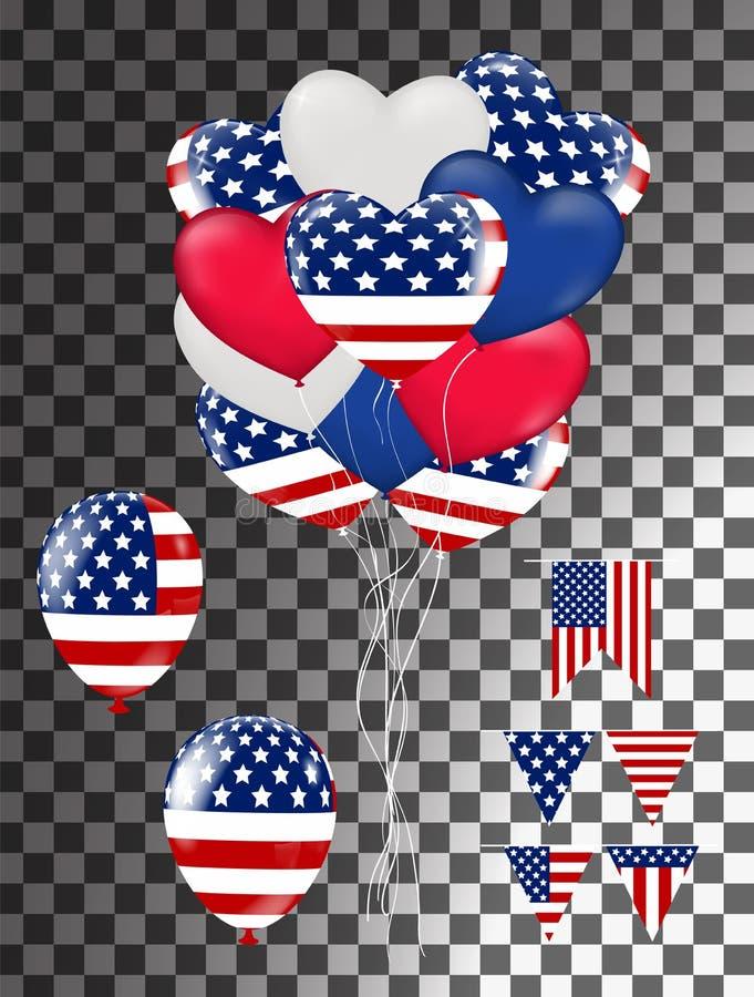 ΑΜΕΡΙΚΑΝΙΚΗ ημέρα της ανεξαρτησίας σημαιών μπαλονιών, υπόβαθρο , Indep στις 4 Ιουλίου ελεύθερη απεικόνιση δικαιώματος