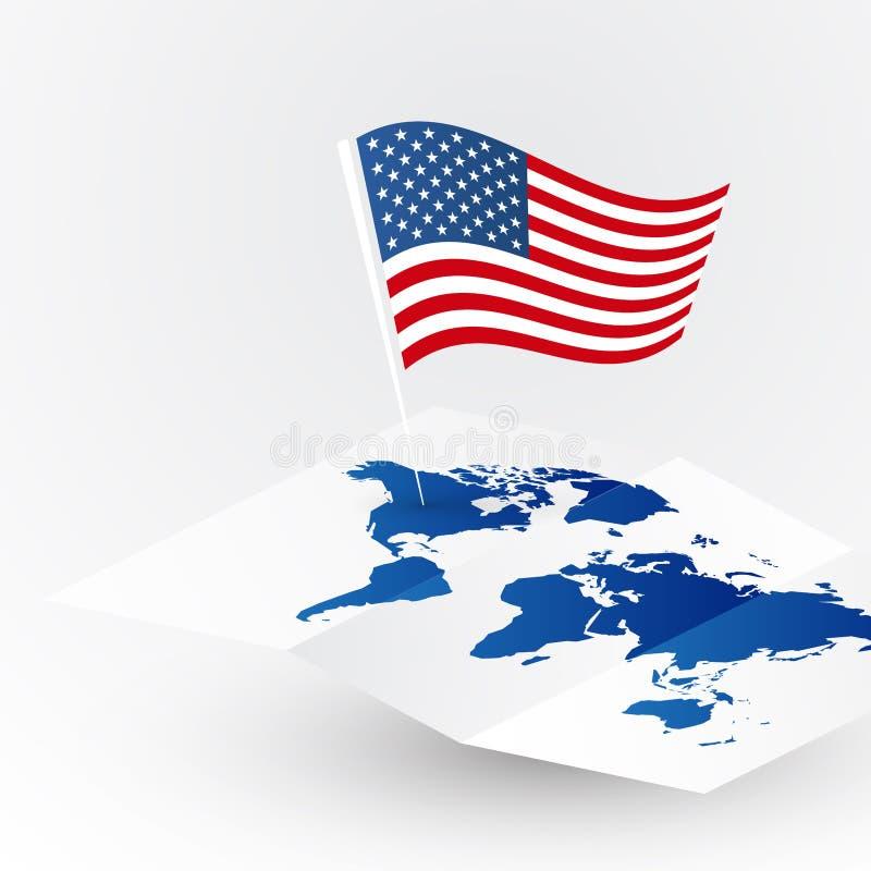 ΑΜΕΡΙΚΑΝΙΚΗ σημαία έννοιας της Αμερικής ταξιδιού στον κενό διανυσματικό παγκόσμιο χάρτη απεικόνιση αποθεμάτων