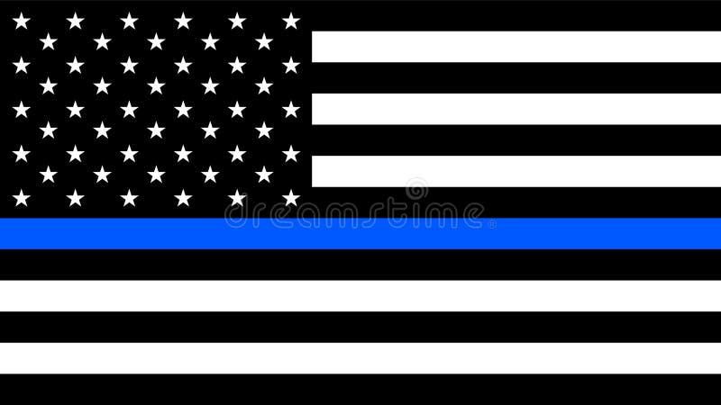 ΑΜΕΡΙΚΑΝΙΚΗ σημαία με μια λεπτή μπλε γραμμή απεικόνιση αποθεμάτων