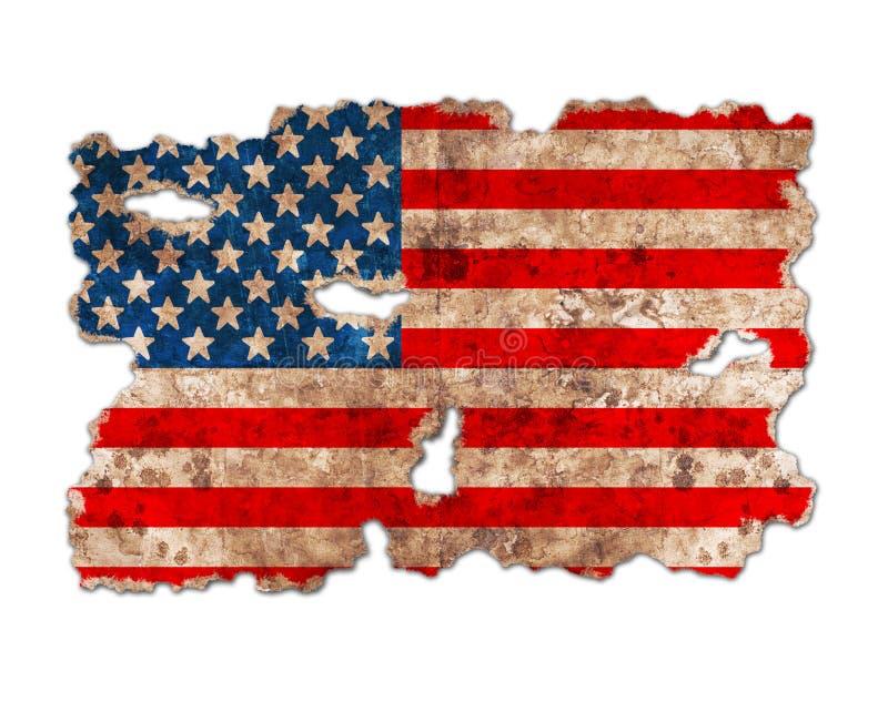 ΑΜΕΡΙΚΑΝΙΚΗ σημαία με μορφή σχισμένου εκλεκτής ποιότητας εγγράφου στοκ εικόνα