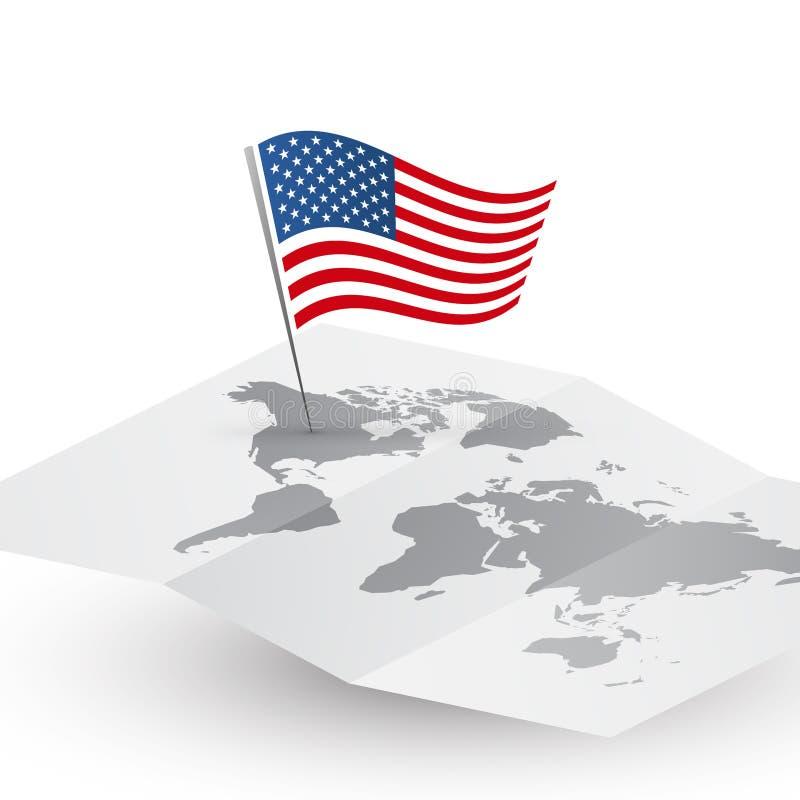 ΑΜΕΡΙΚΑΝΙΚΗ σημαία στην κενή διανυσματική έννοια της Αμερικής ταξιδιού παγκόσμιων χαρτών αφηρημένη απεικόνιση αποθεμάτων